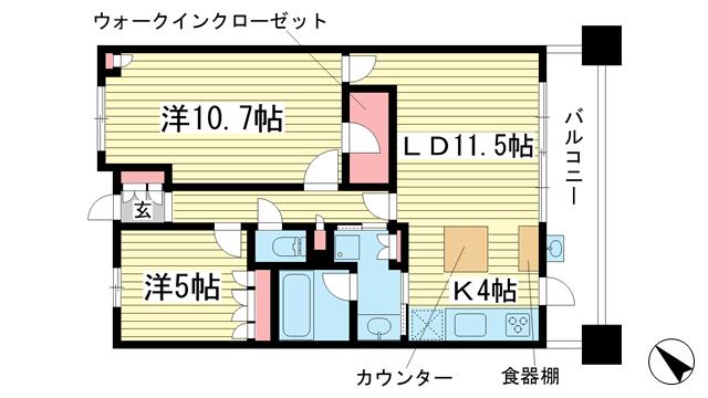 物件番号: 1025872012 ローレルコート神戸海岸通  神戸市中央区脇浜海岸通4丁目 2LDK マンション 間取り図