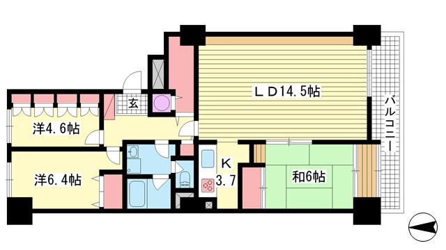 物件番号: 1025872075 ポートピアプラザC棟  神戸市中央区港島中町6丁目 3LDK マンション 間取り図