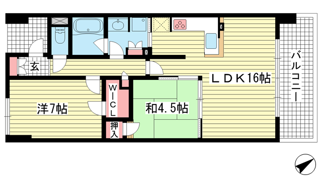物件番号: 1025872078 ワコーレシティ神戸三宮  神戸市中央区浜辺通6丁目 2LDK マンション 間取り図