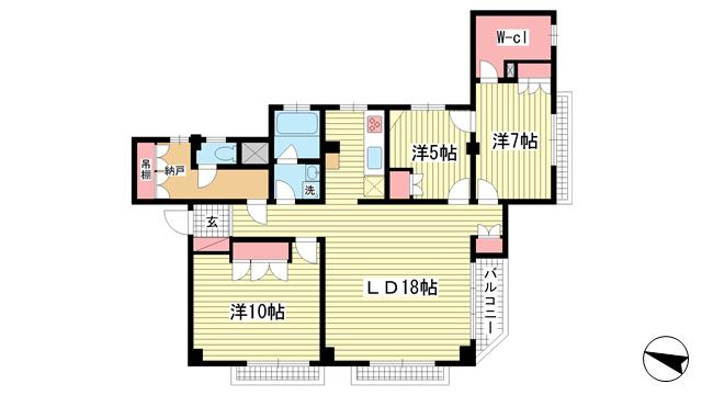 物件番号: 1025872106 PAWAマンション  神戸市中央区山本通2丁目 3SLDK マンション 間取り図