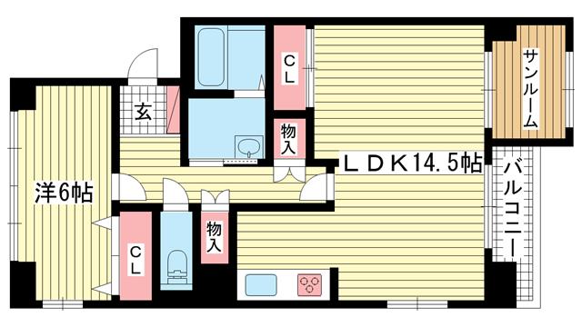 物件番号: 1025872133 三宮東ハイツ  神戸市中央区二宮町1丁目 1SLDK マンション 間取り図
