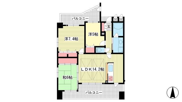 物件番号: 1025872140 プレステージ神戸熊内パークアベニュー  神戸市中央区熊内橋通5丁目 3LDK マンション 間取り図