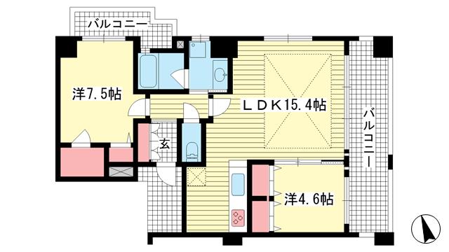 物件番号: 1025872160 ワコーレ神戸北野セリュックス  神戸市中央区加納町2丁目 2LDK マンション 間取り図