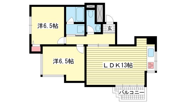 物件番号: 1025872183 六甲ヒルコート  神戸市灘区宮山町3丁目 2LDK マンション 間取り図