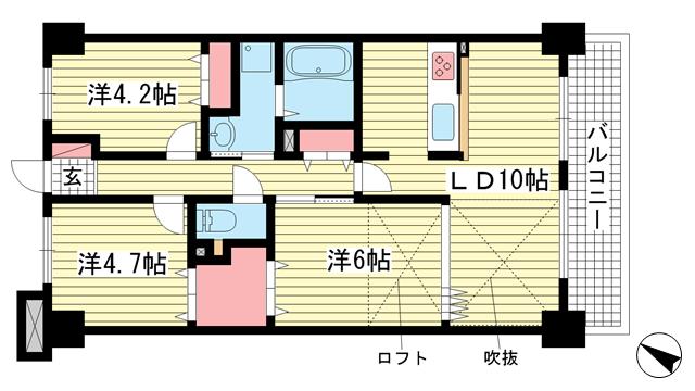 物件番号: 1025872184 グランシティ三宮  神戸市中央区雲井通2丁目 3LDK マンション 間取り図