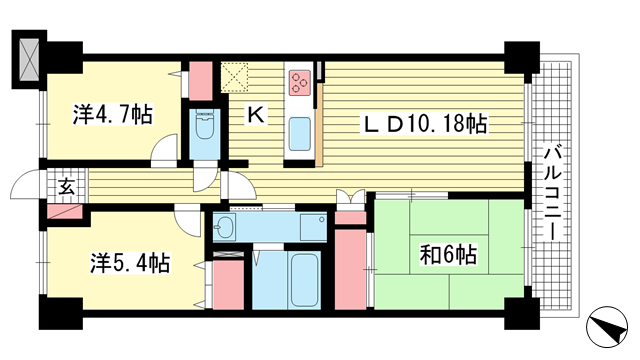 物件番号: 1025872185 グランシティ三宮  神戸市中央区雲井通2丁目 3LDK マンション 間取り図