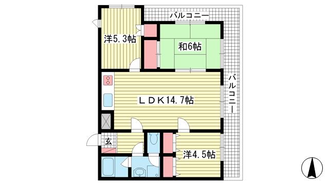 物件番号: 1025872189 アークヒル六甲  神戸市灘区八幡町1丁目 3LDK マンション 間取り図