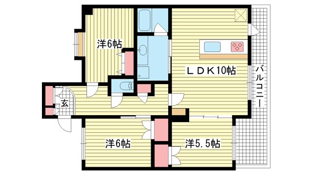 物件番号: 1025872207 KAISEI新神戸第2EAST  神戸市中央区布引町2丁目 3LDK マンション 間取り図