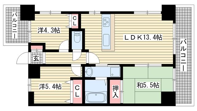 物件番号: 1025872252 シーガルパレス元町  神戸市中央区花隈町 3LDK マンション 間取り図