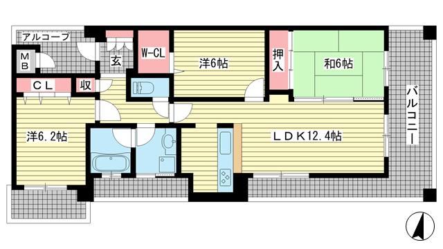 物件番号: 1025872254 プレステージ新神戸サザンプレイス  神戸市中央区二宮町1丁目 3LDK マンション 間取り図