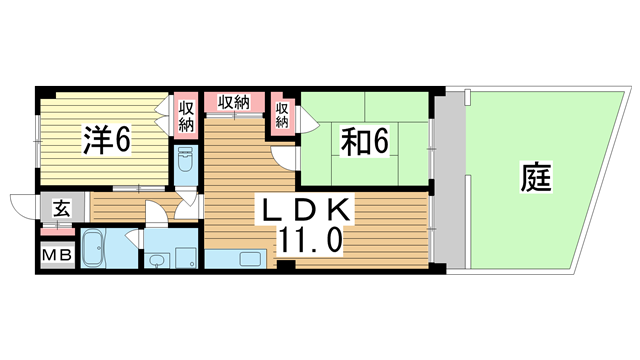 物件番号: 1025872276 五宮サンクレバー  神戸市兵庫区五宮町 2LDK マンション 間取り図