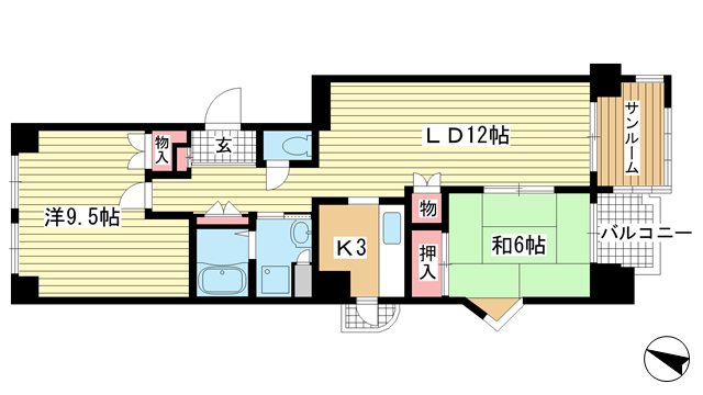 物件番号: 1025872280 三宮東ハイツ  神戸市中央区二宮町1丁目 2LDK マンション 間取り図