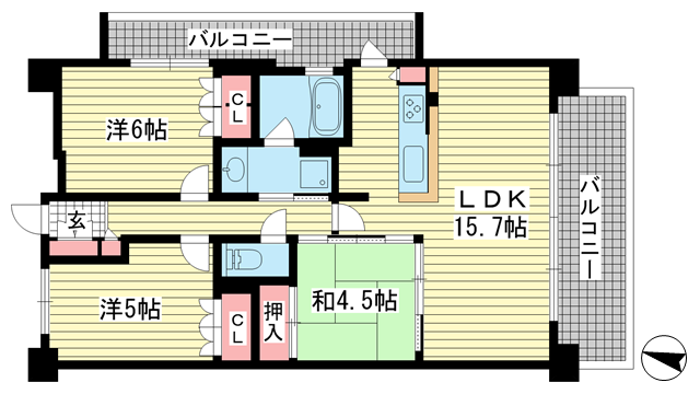 物件番号: 1025872299 ザ・パークハウス神戸春日野道  神戸市中央区脇浜町3丁目 3LDK マンション 間取り図