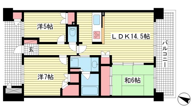 物件番号: 1025872300 コスモ六甲ガーデンフォート  神戸市灘区新在家北町2丁目 3LDK マンション 間取り図