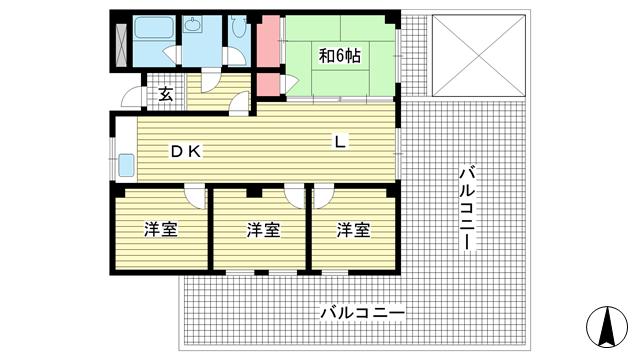 物件番号: 1025872301 マンション北野ヒルハウス  神戸市中央区北野町3丁目 4LDK マンション 間取り図