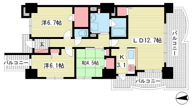 物件番号: 1025872319 ラ・トゥール六甲  神戸市灘区弓木町4丁目 3LDK マンション 間取り図