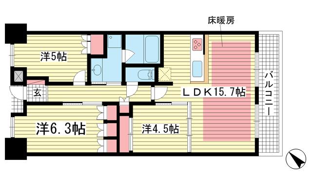 物件番号: 1025872332 パークホームズ神戸ザレジデンス  神戸市中央区栄町通7丁目 2SLDK マンション 間取り図