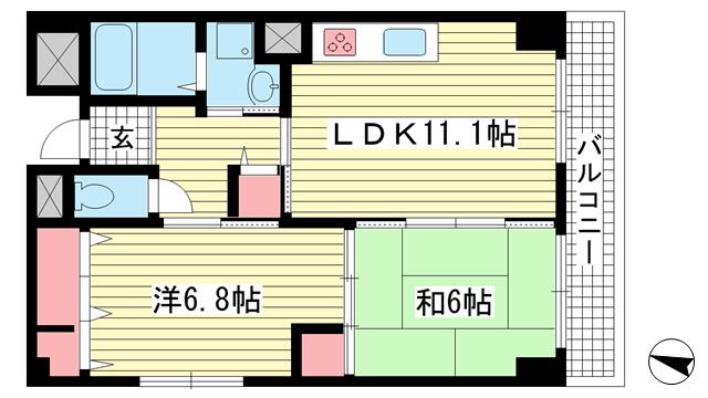 物件番号: 1025872353 メゾン・ドュウ  神戸市中央区中山手通2丁目 2LDK マンション 間取り図