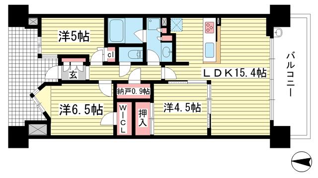 物件番号: 1025872388 クレヴィアタワー神戸ハーバーランド  神戸市中央区東川崎町1丁目 3SLDK マンション 間取り図