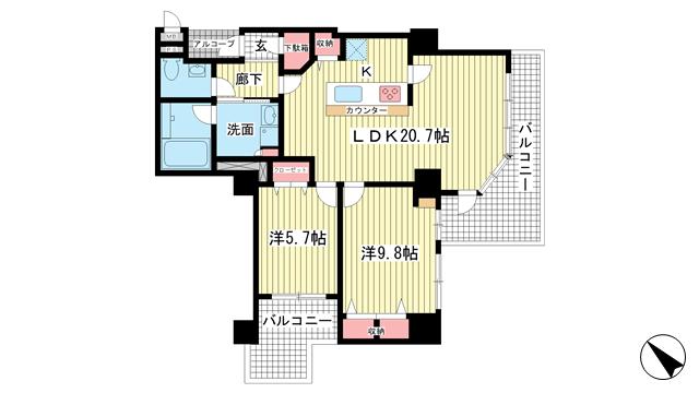 物件番号: 1025872399 アパタワーズ神戸三宮  神戸市中央区磯辺通4丁目 2LDK マンション 間取り図