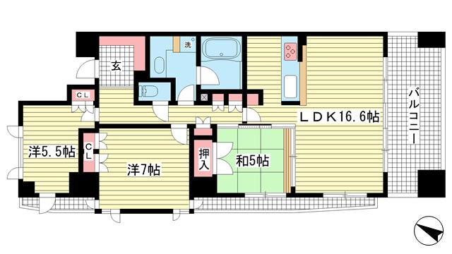 物件番号: 1025872406 アーバネックス三宮磯辺通  神戸市中央区磯辺通1丁目 3LDK マンション 間取り図
