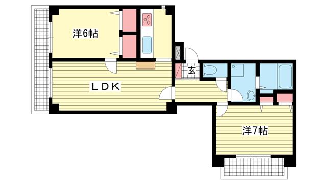 物件番号: 1025872467 ハイツグラナダ  神戸市中央区花隈町 2LDK マンション 間取り図