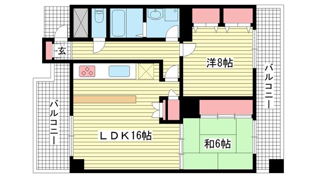 物件番号: 1025872486 ライオンズマンション三宮第2  神戸市中央区御幸通2丁目 2LDK マンション 間取り図