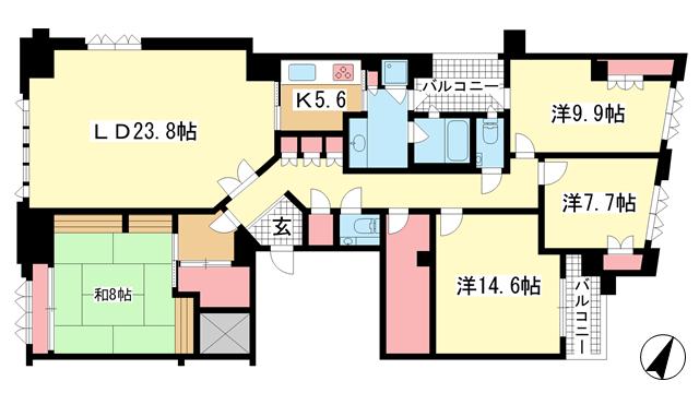 物件番号: 1025872488 オーキッドコート湖南館  神戸市東灘区西岡本2丁目 4LDK マンション 間取り図