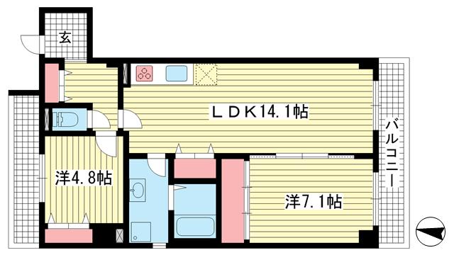 物件番号: 1025872500 サニーハイツ六甲  神戸市灘区大和町2丁目 2LDK マンション 間取り図