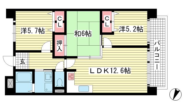 物件番号: 1025872531 リバーサイドパーク  神戸市灘区楠丘町1丁目 3LDK マンション 間取り図