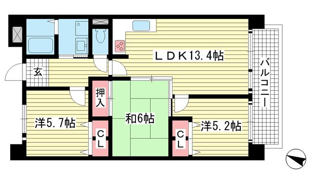 物件番号: 1025872533 リバーサイドパーク  神戸市灘区楠丘町1丁目 3LDK マンション 間取り図