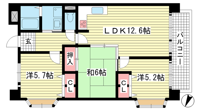 物件番号: 1025872534 リバーサイドパーク  神戸市灘区楠丘町1丁目 3LDK マンション 間取り図