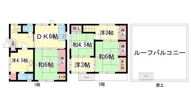 物件番号: 1025872551 下山手7坂東貸家西角  神戸市中央区下山手通7丁目 6DK 貸家 間取り図