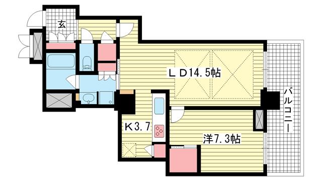 物件番号: 1025872637 アーバンライフ神戸三宮ザ・タワー  神戸市中央区加納町6丁目 1LDK マンション 間取り図