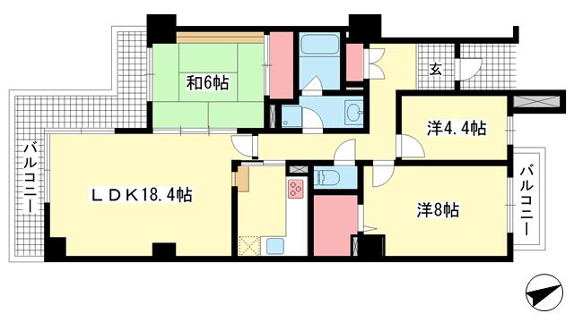 物件番号: 1025872638 ブルックス神戸  神戸市中央区中尾町2丁目 3LDK マンション 間取り図