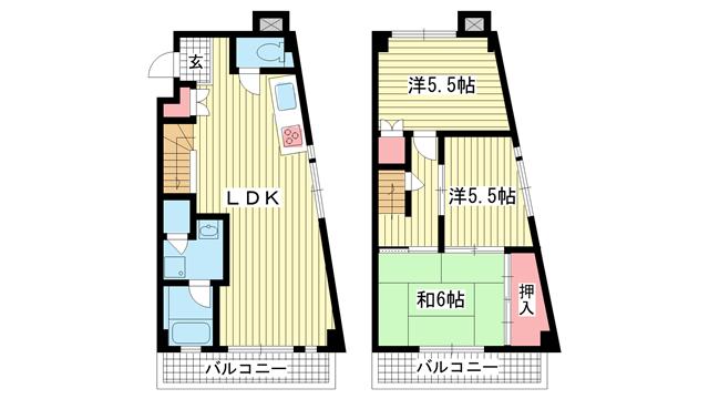 物件番号: 1025872648 サザン神戸品川  神戸市中央区相生町4丁目 3LDK マンション 間取り図