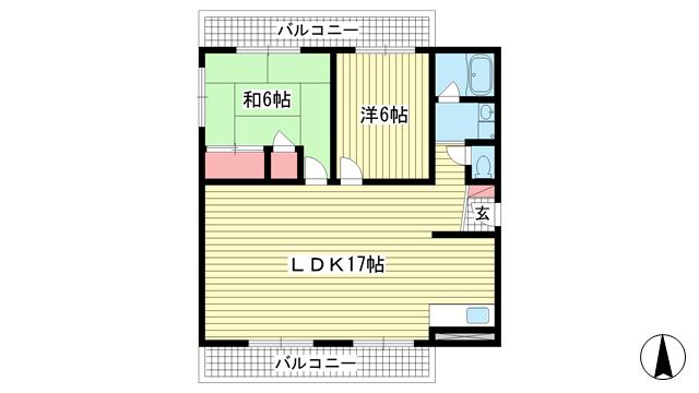 物件番号: 1025872686 パールライフビル  神戸市中央区山本通2丁目 2LDK マンション 間取り図