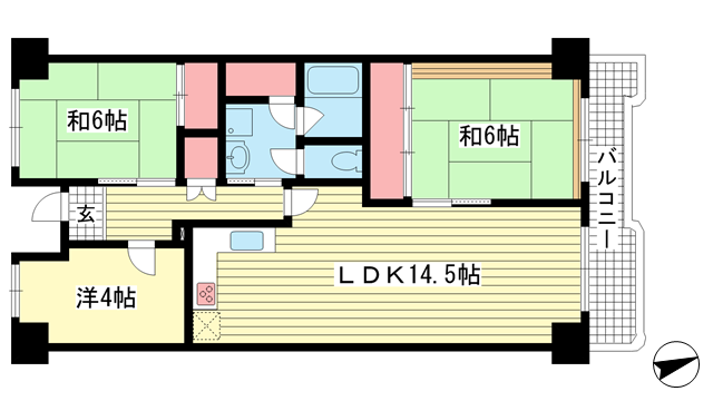 物件番号: 1025872697 ポートアイランド住宅45号棟  神戸市中央区港島中町3丁目 3LDK マンション 間取り図