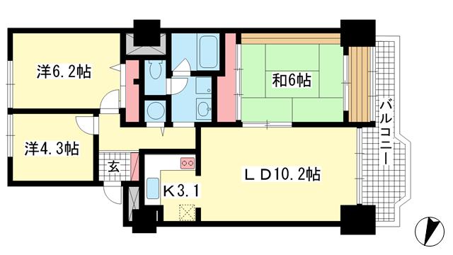 物件番号: 1025872703 ポートピアプラザD棟  神戸市中央区港島中町6丁目 3LDK マンション 間取り図