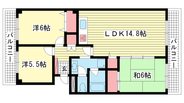 物件番号: 1025872705 神戸ポートビレジ3号棟  神戸市中央区港島中町3丁目 3LDK マンション 間取り図