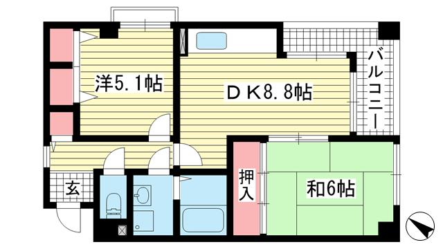 物件番号: 1025872779 アビタシオン山手  神戸市中央区中山手通7丁目 2DK マンション 間取り図