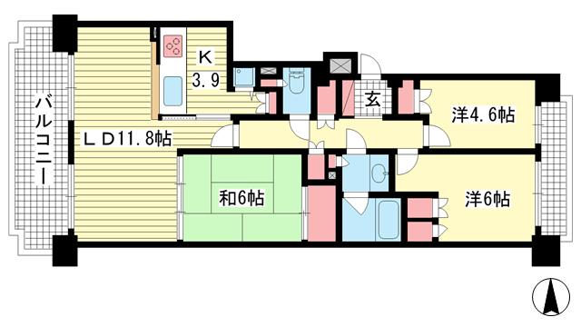 物件番号: 1025872808 パーク・ハイム神戸熊内町  神戸市中央区熊内町5丁目 3LDK マンション 間取り図
