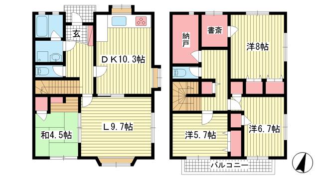 物件番号: 1025872963 上野通8丁目貸家  神戸市灘区上野通8丁目 4SLDK 貸家 間取り図