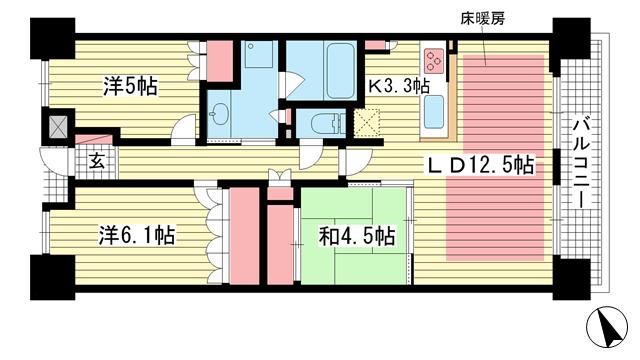 物件番号: 1025873021 パークホームズ神戸ザレジデンス  神戸市中央区栄町通7丁目 2SLDK マンション 間取り図
