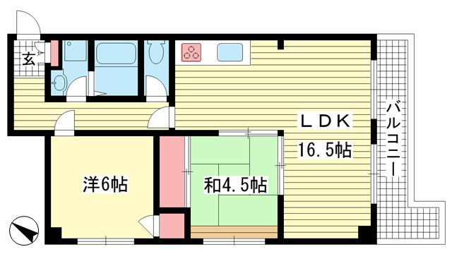 物件番号: 1025873149 甲南サンシティー三宮  神戸市中央区八幡通1丁目 2LDK マンション 間取り図
