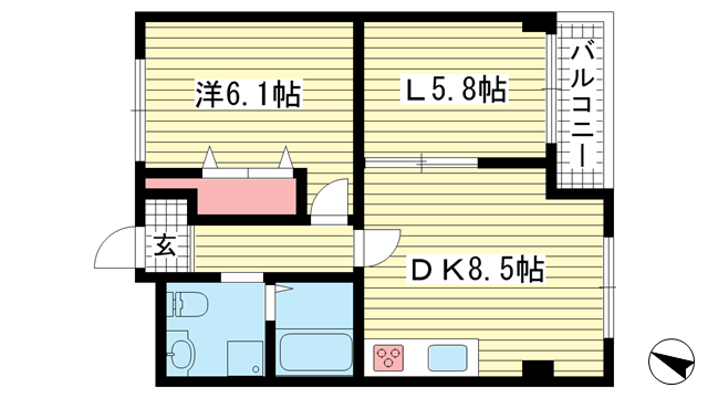 物件番号: 1025873167 上春日野ハイツ  神戸市中央区神仙寺通4丁目 1LDK マンション 間取り図