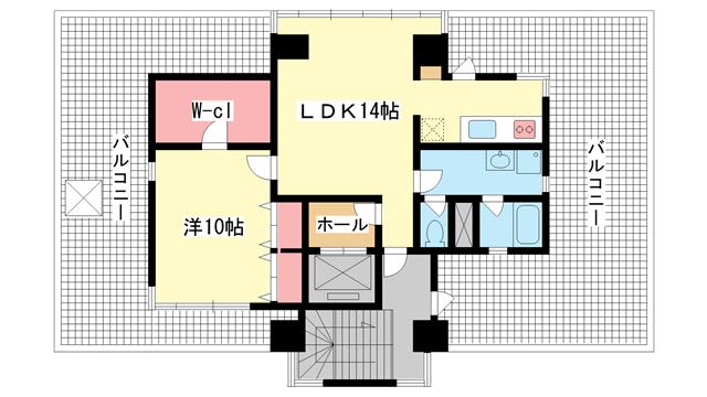 物件番号: 1025873182 メゾン下山手  神戸市中央区下山手通3丁目 1LDK マンション 間取り図