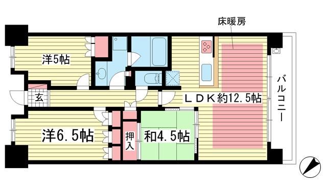 物件番号: 1025873197 パークホームズ神戸ザレジデンス  神戸市中央区栄町通7丁目 3LDK マンション 間取り図