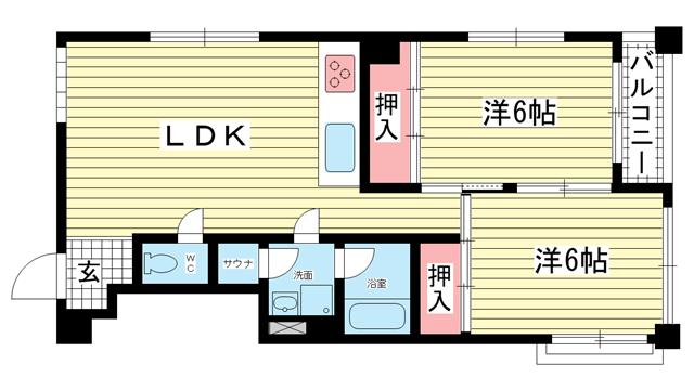 物件番号: 1025873206 ダイナスティ品川  神戸市中央区山本通5丁目 2LDK マンション 間取り図