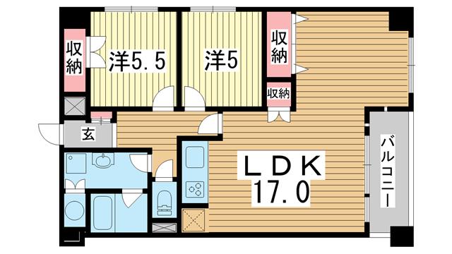 物件番号: 1025873237 万葉ハイツ元町  神戸市中央区下山手通3丁目 2LDK マンション 間取り図